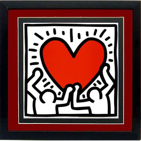 Keith Haring Figures with Heart Custom Framed Print High Quality Display (Display Custom Framed)