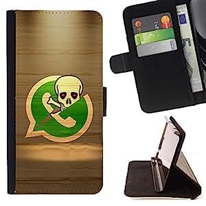BullDog Case - FOR/Samsung Galaxy S6 / - / Pirate Skeleton Phone /- Monedero de cuero de la PU Llevar cubierta de la caja con el ID Credit Card Slots Flip funda de cuer