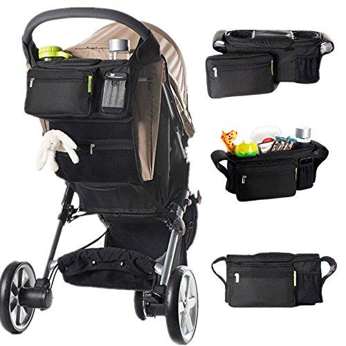 Baby Stroller Organizer - Large Stroller Organizer - KC-0526 Large Detachable Stroller Organizer Cup Phone Holder Travel Storage Bag (Stroller Organizer Bag)