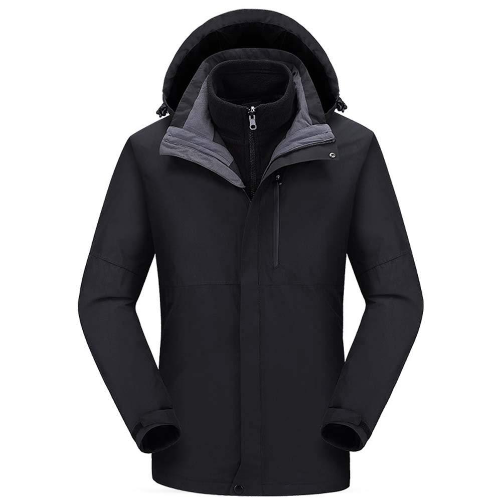 SHOES-HYY Herren Damen Skijacke Unisex Outdoorjacke Mann-Winter-Ski-Jacke Windjacke 3 in1 mit Kapuze Regen-Mantel für Reisen Klettern Wandern,A,L