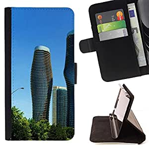 For HTC DESIRE 816 Case , Arquitectura moderna City Towers- la tarjeta de Crédito Slots PU Funda de cuero Monedero caso cubierta de piel
