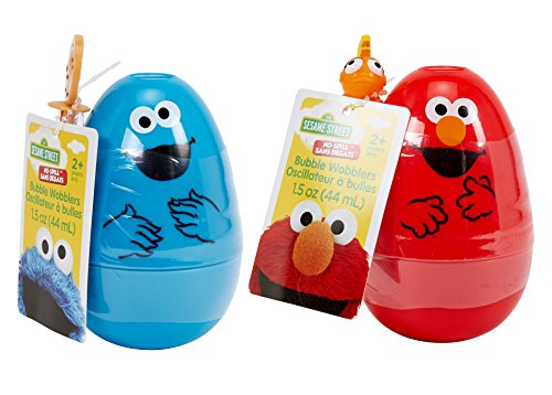Little Kids Sesame Street Elmo and Cookie Monster No-Spill Bubble Wobble Set with Bubble Solution Toy
