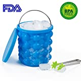 Image of Portable Ice Cube Maker Genie Silicone Ice Trays with Handle,Ice Buckets Wine Cooler Holder With Lid (H-D:5.7