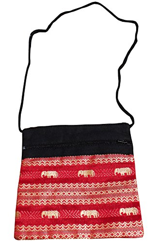 Red Funk Pouch Mid Silk Thai Shoulder Size Sangria Bag Full 1qTnRzfxR