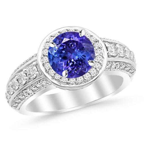 14K White Gold Designer Halo Three Row Prong Set Diamond Engagement Ring with a 1 Carat Tanzanite AAA Heirloom Center Stone (Ring Gold Diamond White Designer)