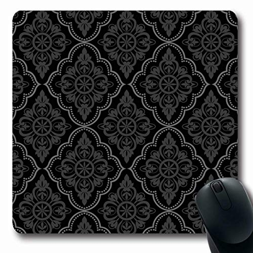 (Ahawoso Mousepads Dark Baroque Black Damask Vintage Floral Pattern Art Grey Scroll Antique Contemporary Wave Design Oblong Shape 7.9 x 9.5 Inches Non-Slip Gaming Mouse Pad Rubber Oblong Mat)
