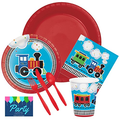 Choo Choo Train All Aboard Birthday Party Supplies Set Plates Cups Napkins Tableware Kit for 16 Guests by PCBS -