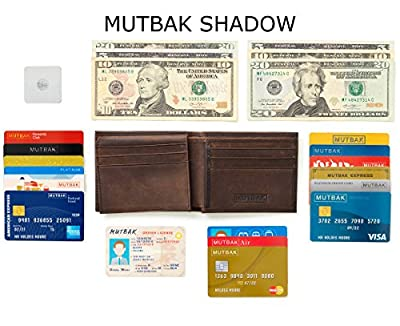 MUTBAK Shadow - Passcase Leather Wallet, Tile Slim Pocket, RFID/NFC Blocking