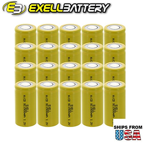 20x Exell SubC 1.2V 1500mAh NiCD Flat Top Rechargeable Batteries for high power static applications (Telecoms, UPS and Smart grid), electric mopeds, meters, radios, RC devices, electric tools