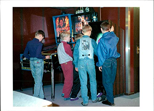 Vintage photo of Ship Estonia 2 Filets:children playing at a pinball