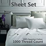 SUPER LUXURY 1000 Thread Count 100% Egyptian Cotton Sheet Set (Ivory, Queen)