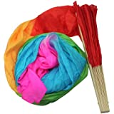 VStoy New 1.8M Hand Made Belly Dance Dancing Silk Bamboo Long Fans Veils Art Colorful