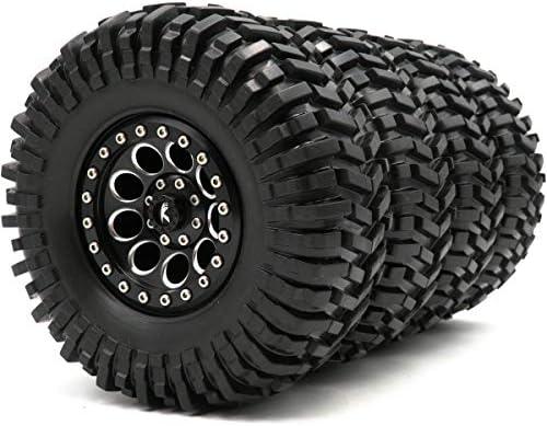 RCクローラー2.2泥地形タイヤ4本。粘着タイヤ。高さ:125mm。アルミニウム合金2.2。ビードロックホイールリム六角12mm