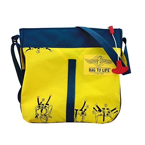 BAG TO LIFE Messenger Bag Classic Flyer Blue Umhängetasche UNIKAT Upcycling aus einer Rettungsweste