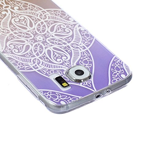 Towallmark(TM)for Samsung Galaxy S6 Case Vintage Floral Pattern Carved TPU Case Cover (Purple)