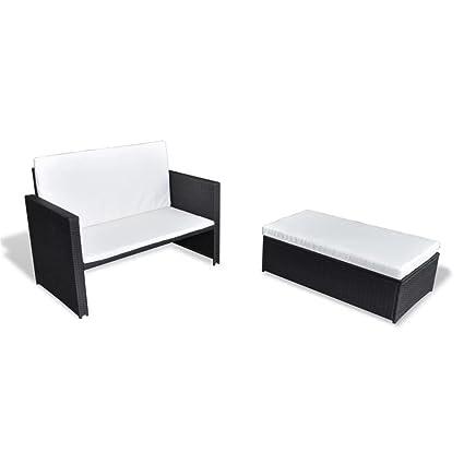 vidaXL Set Sofás Jardín Ratán Sintético Negro 5 Pzs Sillón Silla Mueble Patio