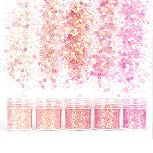 Colorful Gradient Glitter Powder Shiny Chunky Glitters For Resin Jewelry Making (Color - Pink Series)