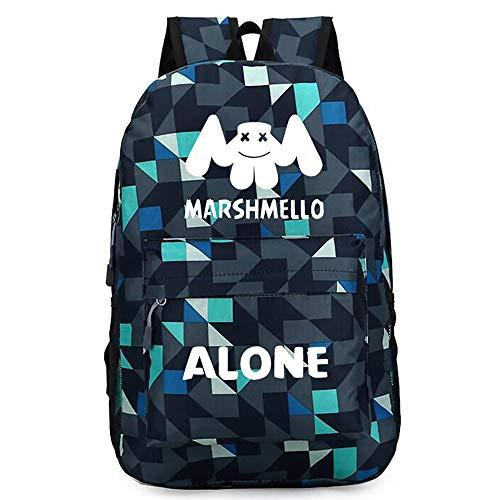 DJ Marshmello Alan Walker Backpack Boy Girl Student Backpack Canvas Casual Bookbag Music Backpack (Plaid Green) - Canvas Green Oxford