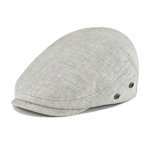 Ivy Linen (VOBOOM Men Breathable Linen Summer hat Newsboy Beret Ivy Cap Cabbie Flat Cap MZ105 (Light Gray),Adjustable size: 57-59cm( 7 1/8-7 3/8))