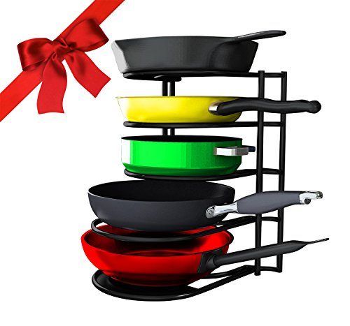 #1 Premium Heavy Duty Pan Organizer - Bottom Tier 1 Inch Taller for Larger Pans - No Assembly Required - Black - Cast Iron Pots Pans