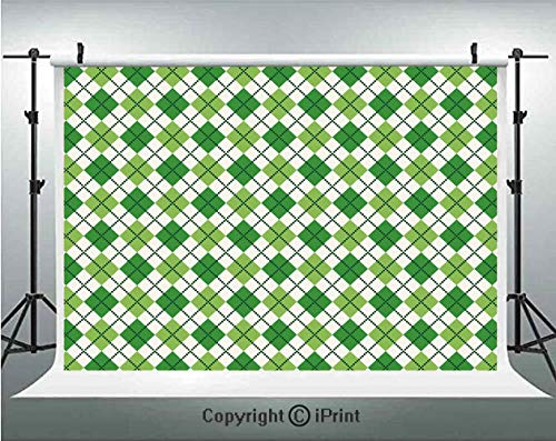 Irish Photography Backdrops Classical Argyle Diamond Line Pattern with Crosswise Lines Old Fashioned Decorative,Birthday Party Background Customized Microfiber Photo Studio Props,7x5ft,Green Light Gre