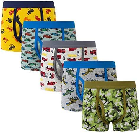 LOKTARC Boys Boxer Briefs Cotton Camo Tractor Dinosaur Underwear 5 Pack 2-12Y