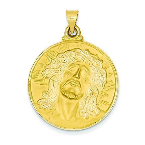 Or 14carats poli et satiné visage de Jésus Médaille Pendentif