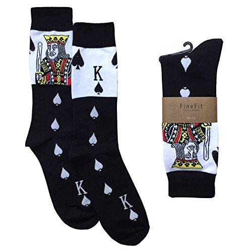 Men's Black The King of Spades Poker Player Cards Novelty Crew Dress ()