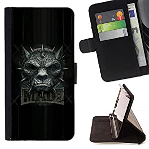 Mad Wolf Dog Grey Black Angry Teeth Collar - Painting Art Smile Face Style Design PU Leather Flip Stand Case Cover FOR Samsung Galaxy S4 IV I9500 @ The Smurfs