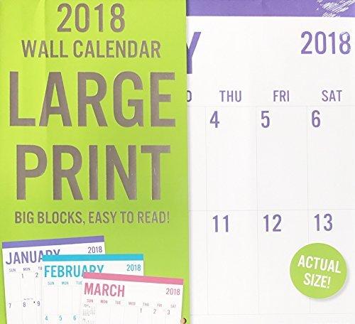 LARGE PRINT 2018 Wall Calendar 16 - Wall Calendar Large Print