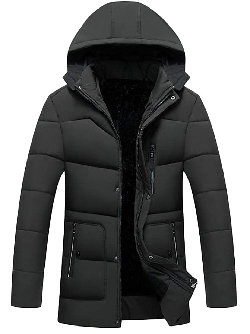 YUNY Mens Velvet Thick Hood Zipper Pockets Pure Color Warm Down Jacket Pattern1 XL