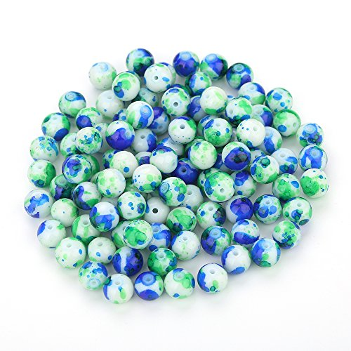 Navifoce Artistic Marble Design Various Color Round Loose Beads for Jewelry Making Craft,8mm Diameter (Blue & (Green Lampwork Beads)