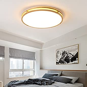 ZHUDJ Leuchte Holz Runde Kleines Wohnzimmer Led-Lampe ...