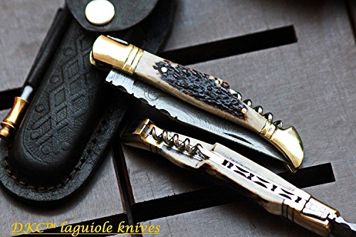 DKC Knives (14 5/18) SALE DKC-809 NAPA STAG Damascus Steel Laguiole Corkscrew Style Pocket Knife 5