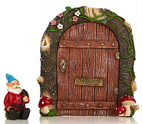 Purple Tree Line Fairy Garden Door Attached Mushroom Gnome Your Magical Miniature Collection, Patio, Yard, Lawn, Outdoor Indoor. Great Addition to Your Tree Art Pieces, Fairies