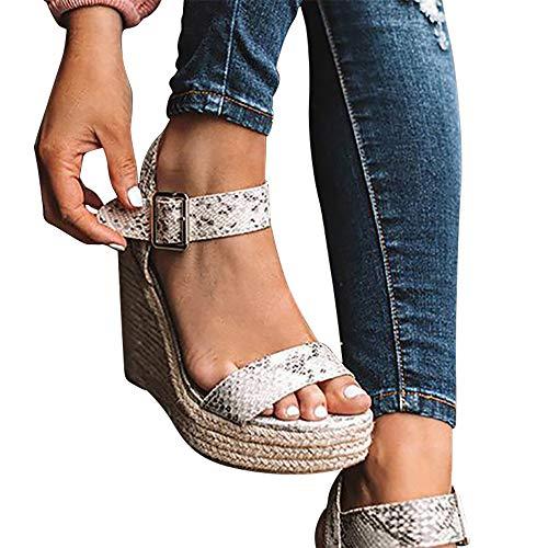 (Susanny Espadrille Wedge Sandals for Women Peep Toe Platform Heeled Sandal Ankle Strap Buckle Shoes Python 8 B (M) US)