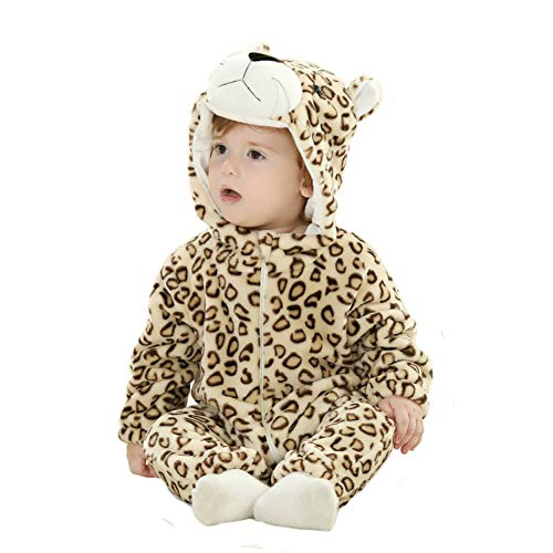 Tonwhar Unisex-Baby Animal Onesie Costume Cartoon Outfit Homewear (110:Ages 24-30 Months, Leopard)