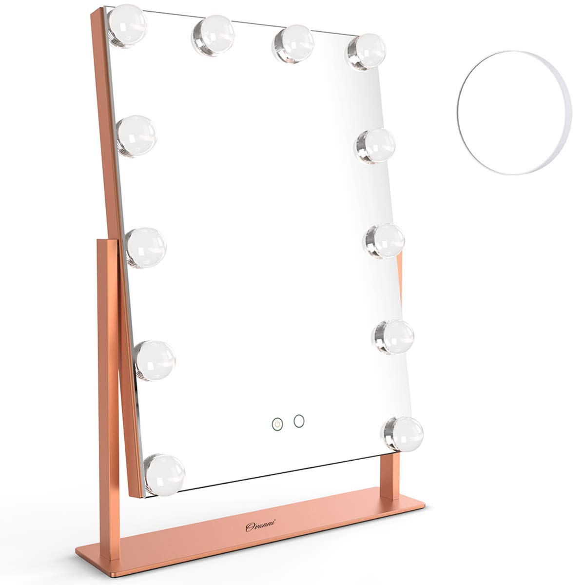 Ovonni Vanity Hollywood Makeup Mirror,10X Magnification Dimmable 360 Rotating Double-sided Tabletop Cosmetic Mirror with 12 LED Bulbs, 2Color Light Touch Control Memory Mode Plug Powered Rose gold