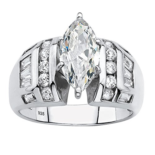 Platinum over Sterling Silver Marquise Cut Cubic Zirconia with Round and Baguette Accent Bridal Engagement Ring Size 9 (Round Brilliant With Tapered Baguettes Engagement Ring)