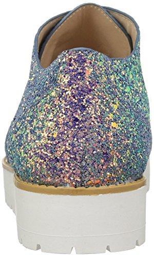 Qupid Kvinners Nybegynner-24 Oxford Is Blå Iriserende Glitter Polyuretan