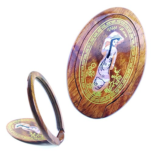 Hand Crafted Woman Mirror Wood Mother of Pearl Inlaid Lady Female Figure Cute Portable Handmade Mirror Make Up Cosmetic Mirror for Women ()
