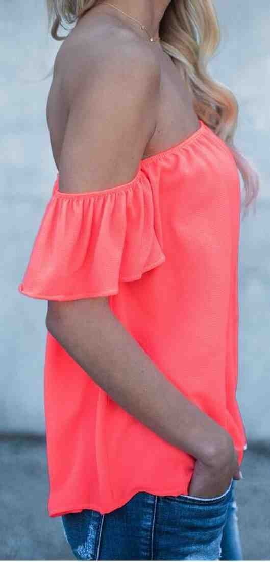 bb38c1bd95e83 Pivaconis Women Summer Off Shoulder Ruffle Short Sleeve Chiffon Blouse at  Amazon Women s Clothing store