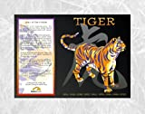 Asian Oriental Chinese Zodiac Poster Year of the Tiger: Birth Years 1914 1926 1938 1950 1962 1974 1986 1998 2010