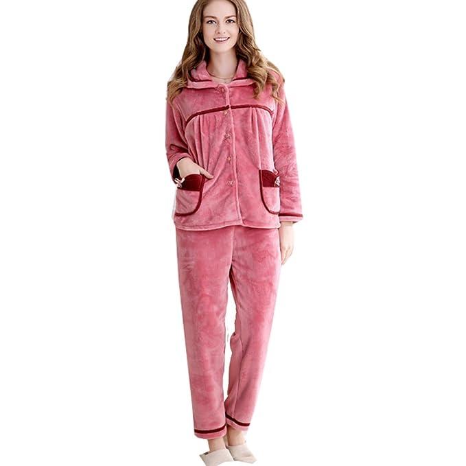 WTUS Mujer- Ropa De Dormir Pijamas Servicio De Franela De Invierno Dos Traje Para Mujer