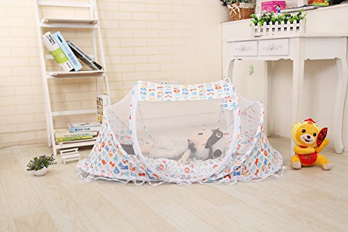 Baby Travel Bed Tent,Portable Folding Baby Crib Netting,Portable Baby Cots Newborn Foldable Crib Net with Summer Sleeping Mat and Music Pack,Perfect For Indoors And Outdoors (Cartoon)