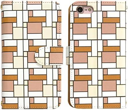 スマホケース 全機種対応 手帳型【AQUOS SERIE mini SHV31 オレンジコーナーパターン】かわいい 幾何学模様 カラフル おしゃれ カバー