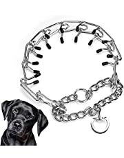 XSAQWE Prong Dog Training Collar, Adjustable Stainless Steel Dog Chain Collar, Dog Correction Collar with Neck Pinching Device
