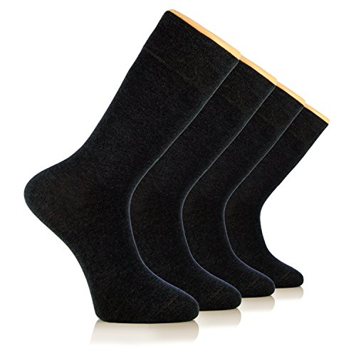 HUGH UGOLI Men's Dress Crew Socks Seamless BAMBOO Business Casual 4 Pairs( - Charcoal Mens Dress