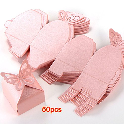SODIAL(R)50pcs Butterfly Decoration Boite a Dragees Wedding Decoration Baptism Birth Rose