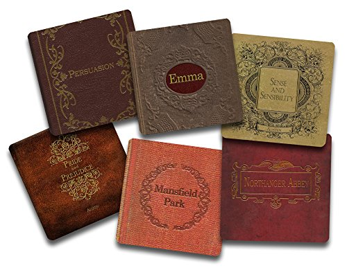 Jane Austen Books Coaster Set- 6 Piece Fabric Top Coaster Set - Rubber Back